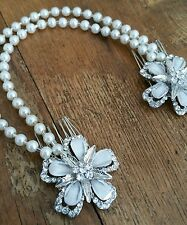 Bridal Ivory Pearl Floral Diamante Double Hair Comb Bun Wrap Boho Vintage