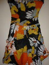 Ax Paris Orange, yellow, black strapless bubble dress. Size 8