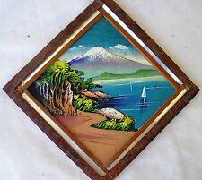 Nice Vintage 50's Bark Birch Wood & Painted Mountain Landscape Mt Fuji Japan