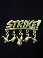 """""""JJ"""" Jonette Jewelry Bronze Pewter 'STRIKE w/Bowling Charms' Pin"""