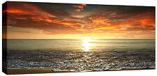 Large Sunset Sea Beach Canvas Picture Wall Art  113 x 52 cm chunky 3cm frame