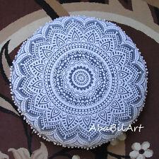 "32"" Mandala Floor Pillow Cushion Pouf Ottoman Cover Round Floor Pillow Cover Art"