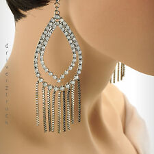 JENNIFER LOPEZ Tear Drop SILVER Tone FROSTED WHITE EARRINGS Faux CRYSTALS Chains