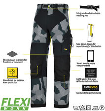 Snickers 6903 Flexiwork Ripstop Trousers Mens Snickers Ripstop Grey Camo Snid