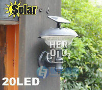 6V NEW Outdoor Solar 20 LED Bright Wall Mount Garden Path Light Warm yellow