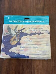 Forget Me Not 10 Baby Boy Birth Announcements Stork Carlton Cards Vintage