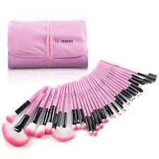 32 Pc Brushes And Professional Soft Synthetic For Makeup Wooden Case Handle