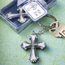 30  Cross Design Keychain Favors Christening Baptismal Communion Wedding Favors