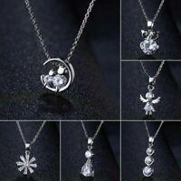 Modern 925 Silver Crystal Zircon Pendant Choker Chain Necklace Women Jewelry
