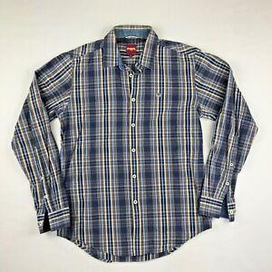 Merc London Knole Blue Check Button Down Classic Dress Shirt Cotton Men's Small