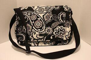 Vera Bradley Essential Messenger Black white floral houndstooth Lighten Up Bag