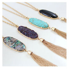 Women's Fashion Big 2'' Oval Abalone Druzy Stone Tassel Pendent Necklace Long