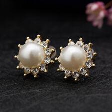 Elegant Flower Pearl Studs Earrings With Austrian Crystal Women Wedding Jewelry