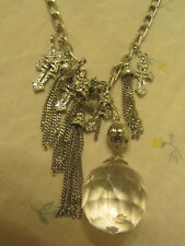 "Silver Tone Many Chain & Cross Clear Plastic Ball Necklace - 26-29"" long"