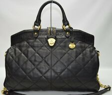 Brahmin XL Work Travel Tote In Black Quilted Leather With Chain Strap Weekender