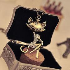 Fashion Women Cat Lady Vintage Antique Retro Crystal Pendant Long Chain Necklace