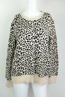 Faded Glory Size XL 16-18 Leopard Cheetah Animal Print Long Sleeve Sweater Top