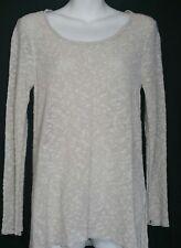 Eileen Fisher Sweater Top Small S Tunic Linen Tunic Scoop Neck Beige Textured