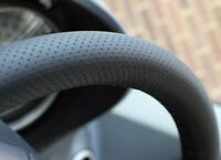 FOR MINI COOPER R50 01-06 REAL BLACK PERFORATED LEATHER STEERING WHEEL COVER NEW