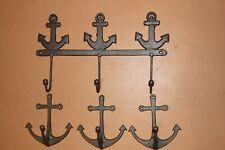 (4) Anchor Towel Hook Rack Wall Hooks Rustic Cast Iron Brown