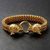Herren Gold Wolfskopf Armband Königsarmband Edelstahl 750er Gold vergoldet 23cm