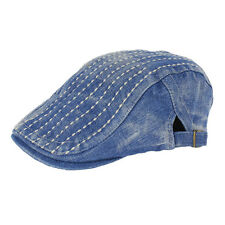 Denim Newsboy Jean Gatsby Cap Ivy Hat Golf Driving Summer Flat Cabbie XT-ZL