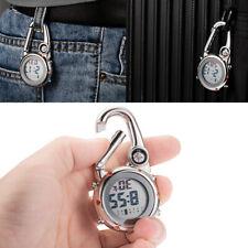 Women Men Backpack Clip On Belt Carabiner Digital Sports Fob Watches Luminous