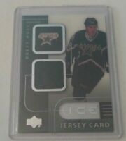 BRETT HULL - 2001/02 UPPER DECK ICE - GAME USED JERSEY - STARS -