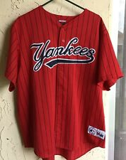 VTG 2XL~New York Yankees Jersey~90's Authentic Sewn Pinstripe Red MLB Majestic