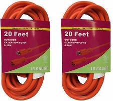 2x 20FT Orange Indoor Outdoor Extension Electric Power Cord Cable 16 Gauge BN220