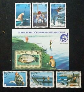sCUBA Sc# 5035-5041  SPORT FISHING FEDERATION  fish CPL SET of 6 + SS 2009 used