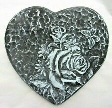 """Rose heart  plastic mold  8.75"""" x 8"""" x 3/4"""" thick plaster concrete resin mould"""