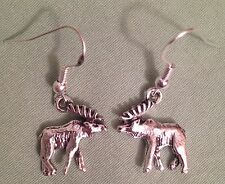 MOOSE EARRINGS - Pewter with Sterling Silver Ear Wires (or GP)