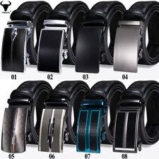 Formal Black Leather Mens Belts Automatic Buckles Ratchet Waist Straps S M L XL