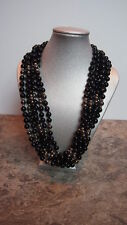 Pearl Black Onyx Necklace 6 Strand Pearls Costume Jewelry Accessory Antique Rare