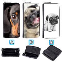 1Dachshund Dog Puppy Pug Leather Wallet Purse Zip Around Card Phone Holder