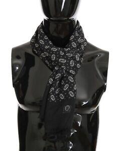 NEW DOLCE & GABBANA Scarf Gray 100% Cashmere Floral Shawl Wrap s. 60x180cm