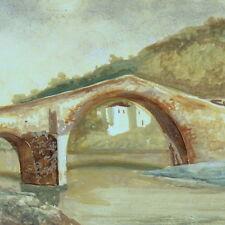 Dipinto Olio Tavoletta - E. Raffai - Ponte del Diavolo Borgo a Mozzano