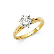 6.5 Mm Cz Solitaire Engagement Wedding Ring 14k Yellow Gold Plain Round 1 Ct