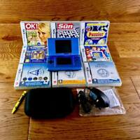 Nintendo DS Bundle Pearl Blue Console 9 Games Case New Charger Stylus FWO VGC