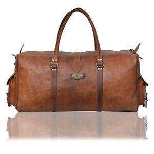 """New Men's 30"""" Leather Travel Luggage Duffel Gym Bag Classic (Goat Leather Bag)"""