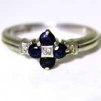 Quality Sapphire & Diamond 9ct White Gold ring O ~ 7 1/4