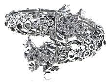 Metal Jet Black Crystal Rhinestone Twin Frog Couple Bracelet Bangle Cuff