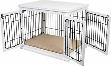 3 Door Dog Pet Crate End Table Cage Kennel Furniture House Bed Locking Wood Cat