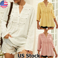 Womens Cotton Linen Long Sleeve Tops T-Shirt Casual Loose V Neck Buttons Blouse