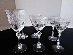 Vintage Elegant Clear Etched Glass Set Of 6 RARE