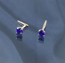 9ct Gold 3.5mm Tanzinite Coloured Cubic Zirconia Andralok Studs.