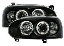 2 PHARE ANGEL EYES VW VOLKSWAGEN GOLF 3 VR6 GT GTI FEUX AVANT NOIR MOD 1 LED