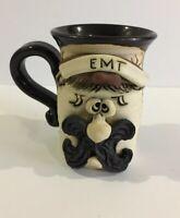EMT Handmade Pottery Face Mug Cup 3D Bradford Signed