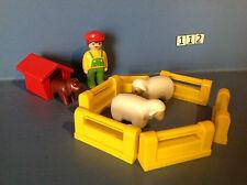 (112) playmobil 1.2.3. fermier moutons, niche chien